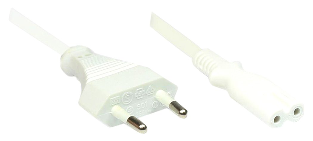 3m, 3 m, Male Connector//Female Connector, CEE7//16, C8 acoplador, Negro Alcasa Type F//C13 3m Cable