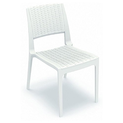 Compamia Verona Resin Wickerlook Patio Dining Chair in White (Furniture Verona Patio)