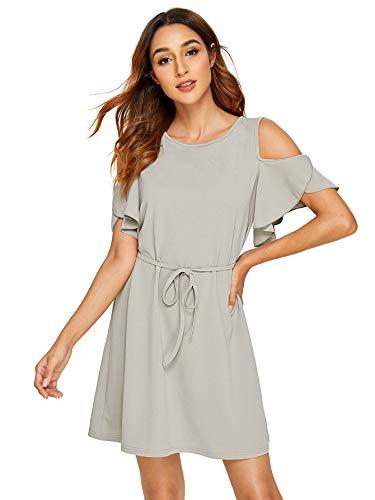 Milumia Women's Summer Cold Shoulder Ruffle Sleeve Elegant Plain Short Mini Dress Grey X-Large