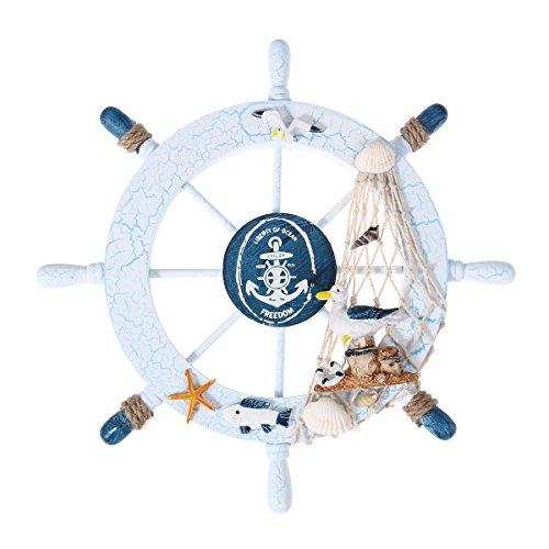 WINOMO Nautical Wheel Decor Wooden Steering Wheel Home Wall Decor