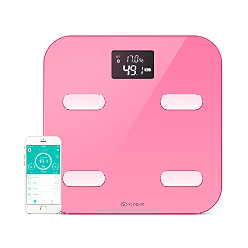 YUNMAI Color Smart Body Analyser - A Bluetooth Bathroom Scale with 10 Body Composition analysis (Inc. Body fat) - Pink
