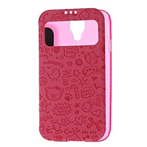 hello Transparent Pattern Skylight Design PU Leather Full Body Pouches for Samsung Galaxy S4 I9500 , Rose