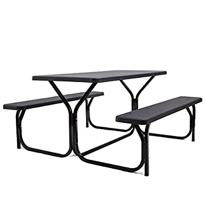Giantex Picnic Table Bench Set Outdoor Camping All Weather Metal Base Wood-Like Texture Backyard Poolside Dining Party Garden Patio Lawn Deck Furniture Large Camping Picnic Tables for Adult from Giantex