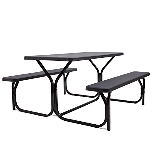 Giantex Picnic Table Bench Set Outdoor Camping All Weather Metal Base Wood-Like Texture Backyard Poolside Dining Party Garden Patio Lawn Deck Large Camping Picnic Tables for Adult Black