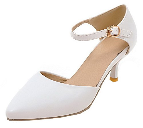 Women's White Sandals Kitten PU Toe Heels Buckle EGHLG004881 WeiPoot Solid Closed HS7wdd