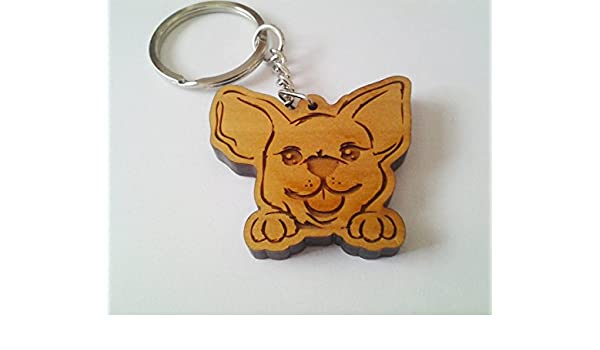 Amazoncom Wooden Chihuahua Keychain Wood Keychain Carving Of