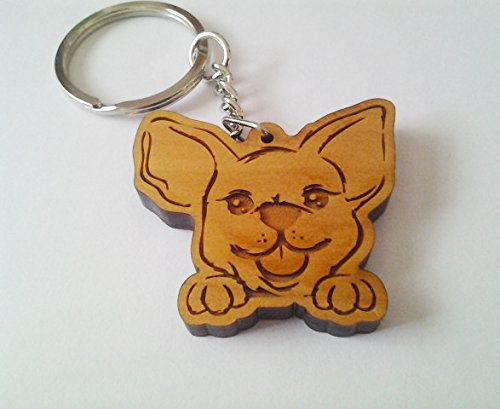 Wooden Chihuahua Keychain, Wood Keychain Carving of Chihuahua Dog Design (Chihuahua Dog Key)