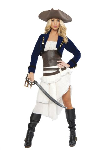 6 Piece Colonial Pirate Costume, Blue/White/Brown, Small ()