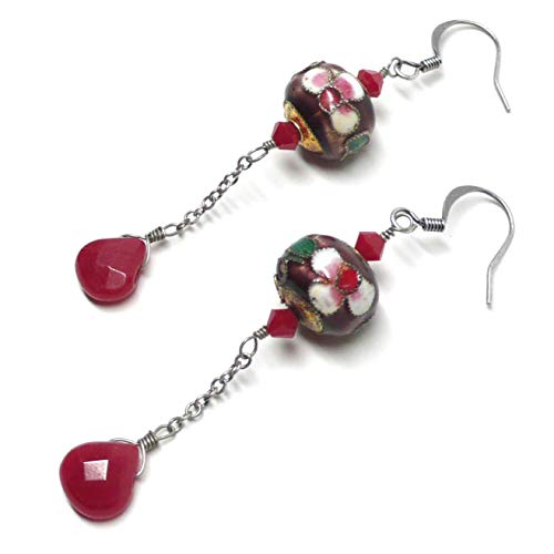 Cherry Red Briolette Purple Floral Cloisonne Chain Dangle Earrings