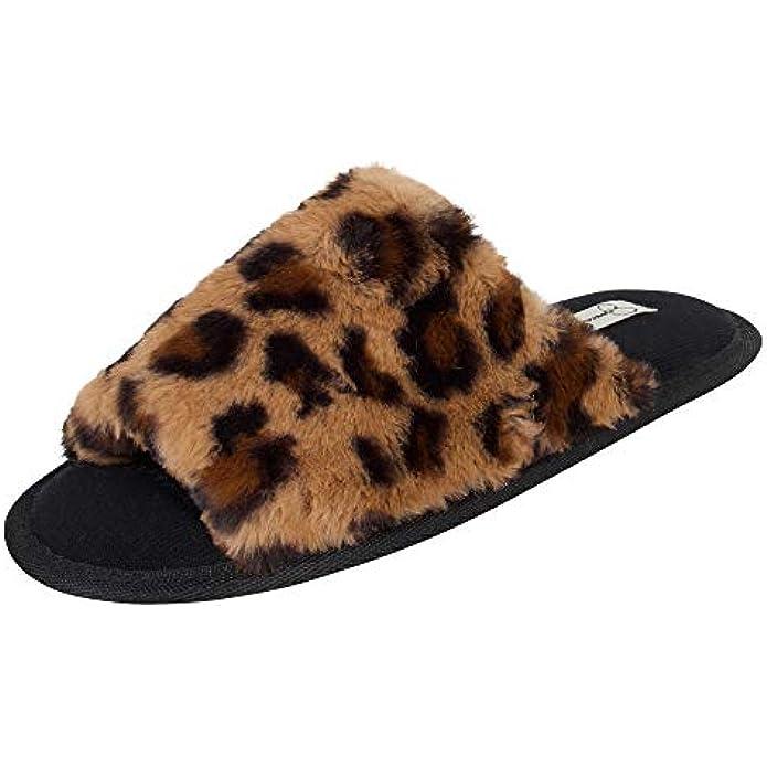 Jessica Simpson Women's Plush Faux Fur Fuzzy Slide on Open Toe Slipper with Memory Foam