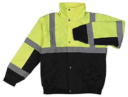 ERB Safety 62166 S106T Tall Class 3 Bomber and Black Jacket, Large, Hi-Viz Lime by ERB (Image #1)