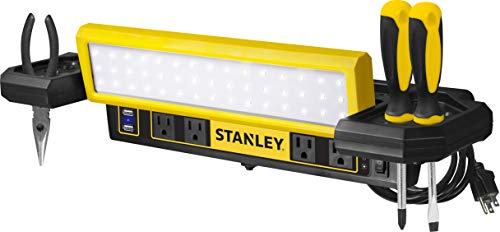 STANLEY PSL1000S Adjustable 45 COB LED Workbench Light with AC Power Outlets, Dual 2.1 Amp USB Charging Ports, and Tool Storage