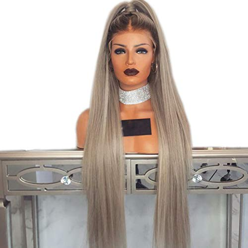 180 Density 24 inches Long Straight,Ash Blonde Wig Synthetic Lace Front Wig with Baby Hair Heat Resistant Wigs for Women