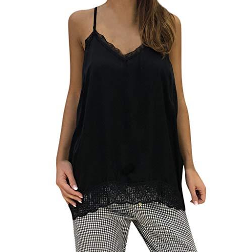Crop Camicia Estive V Maniche Nero Moda Shirt Casual Sexy Donna Estate Pizzo Canotta collo Tank Vest A Elegante Tops Top Senza Miebax qc3R5AjL4