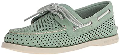 Sperry Top-Sider Men's A/O 2-Eye Laser Perf Boat Shoe, Green, 7 M US