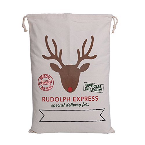 Cotton Santa Gift Bag With Drawstring Christmas Reusable Grocery Present Bag 50x70CM Rudolph Express(White)