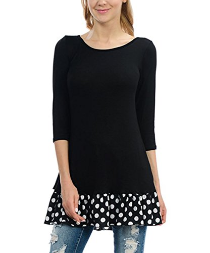 Dots Small Jug (Jug&Po Womens 3/4 Sleeve Black Polka Dot-Contrast Ruffle Bow-Back Tunic Top (Small Black))