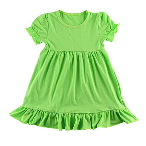 Wennikids Little Baby Girls' Short Sleeve Cotton Princess Dress Medium Lime