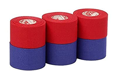 Mueller Athletic Tape Sports Tape, Red and Blue 6 rolls