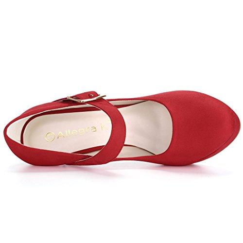 Allegra K Femmes Stiletto Boucle Sangle Pompes Rouge