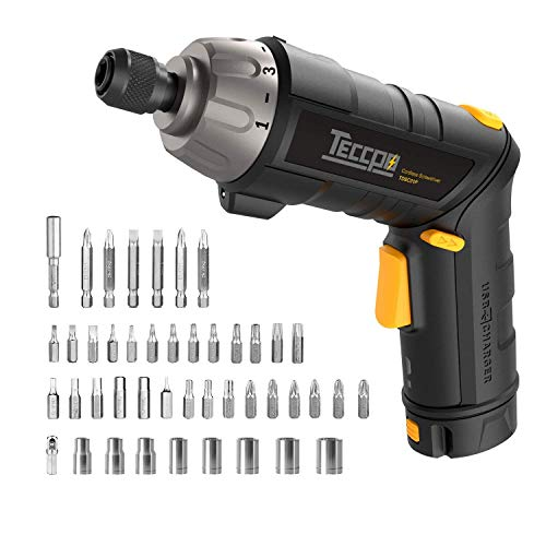 Electric Cordless Screwdriver Rechargeable, Professional Torque 6Nm, 4V Max 2.0Ah Li-ion, 9+1 Torque Gears, 44 Bits, Adjustable 2 Position Handle with LED Torch, USB Charging