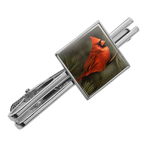 - Graphics and More Northern Cardinal Red Pine Perch Square Tie Bar Clip Clasp Tack Silver Color