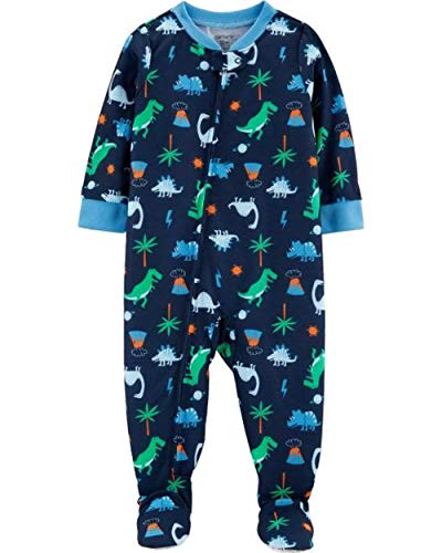 Dinosaur Toddler Boys Navy Dino Print Polyester Footed Pajama Sleeper (3T)