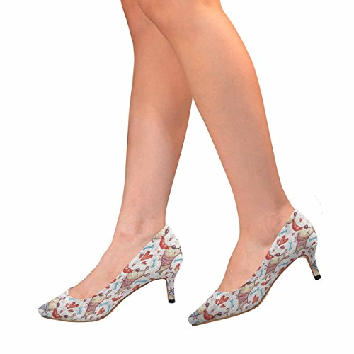 Scarpe Da Donna Low Cost Con Tallone Gattino Scarpe A Punta Svasate Cani Carine Su Sfondo Zampa Multi 1
