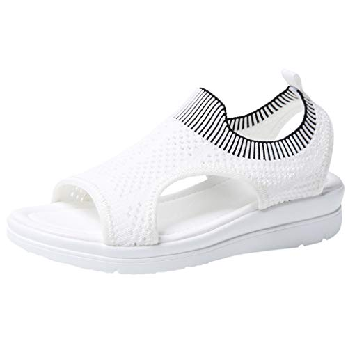 Slip On Walking Shoes,ONLY TOP Women's Mesh Breathable Sandals Lace-Up Running Open Toe Sneakers White (Wrap Shower Kitty Hello)