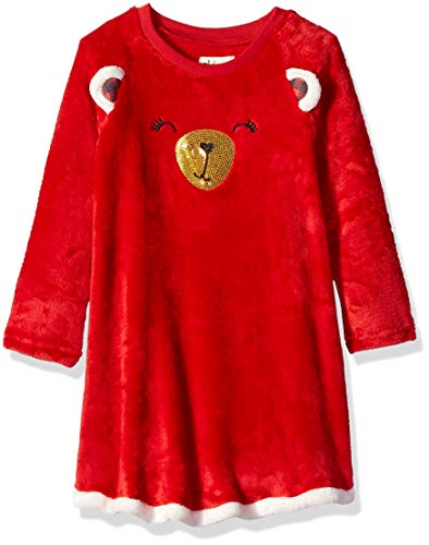 Petit Lem Girls' Little Holiday Nightgown, Comfortable, Cute and Cozy Softness, red -