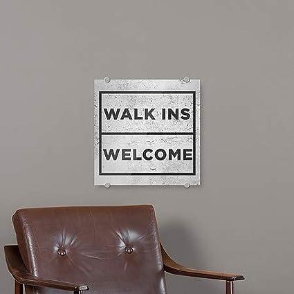 16x16 Basic Gray Premium Brushed Aluminum Sign 5-Pack CGSignLab Walk Ins Welcome