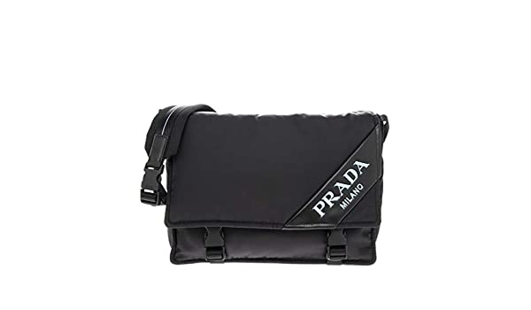 3af59c348445 Amazon.com  Prada Small Nylon and Leather Shoulder Bag Black Blue   TheLuxuryClub