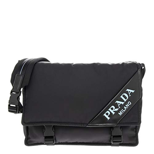 Prada Small Nylon and Leather Shoulder Bag Black Blue