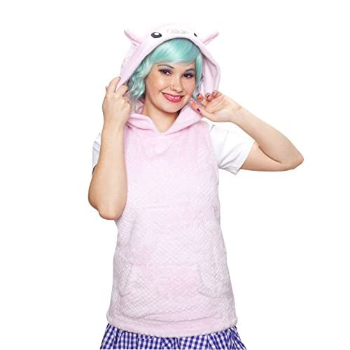 Crazyheads Cute Plush Lamb Ears Hoodie Vest (Pink) lovely