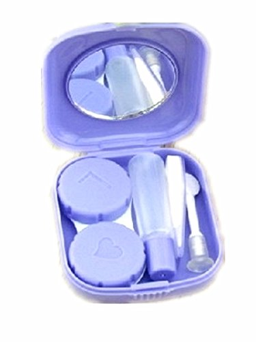 Lunar Baby 2 PCS Mini Travel Contact Lens Case Kit Holder Mirror Box-LB-001( purple )