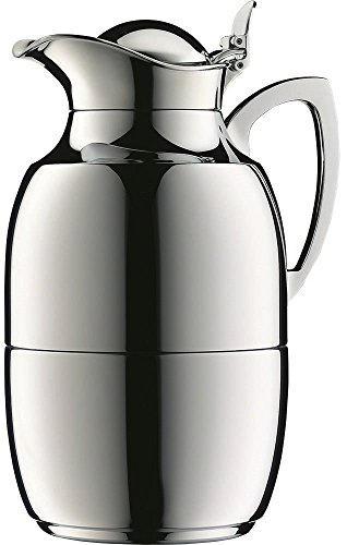 alfi Juwel Glass Vacuum Chrome Plated Brass Thermal Carafe for Hot and Cold Beverages, 1.5 L, Chrome
