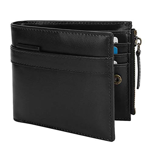 Wallets for Men-Genuine Leather RFID Blocking Bifold Stylish Wallet With Zipper (New Year gift) (Black)