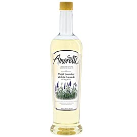 Amoretti premium violet lavender syrup (750ml) 1 made with natural flavor only 32 calories per serving & 62 servings per bottle ideal for coffee, tea, latte, cappuccino, italian soda, etc