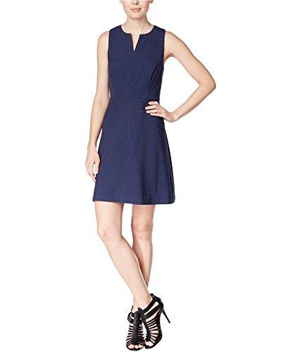 kensie Women's Heather Stretch Crepe Dress, Navy, XS ()