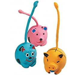 4 x (set) Animal toy balls latex with long tail - Pets Love them! - with sound