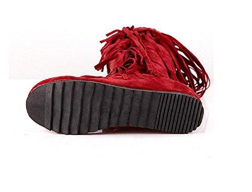 Alto-rodilla talón plano tamaño franja botas Net hilado terciopelo helado zapatos de las mujeres red