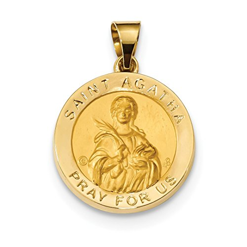 14k Yellow Gold Saint Agatha Medal Pendant Charm Necklace Re