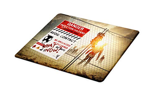 Ambesonne Zombie Cutting Board, Dead Man Walking in Dark Danger Scary Scene Fiction Halloween Infection Picture, Decorative Tempered Glass Cutting and Serving Board, Large Size, Multicolor]()