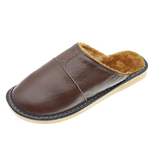 Maylian Home Plush Lined Indoor Home Leather Slipper Shoes for Men by Maylian