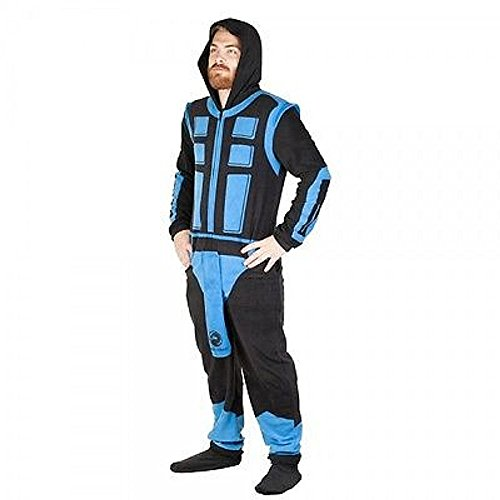 Mortal Kombat Sub-Zero Adult Size Union Suit Costume Polyester Pajamas (Small)