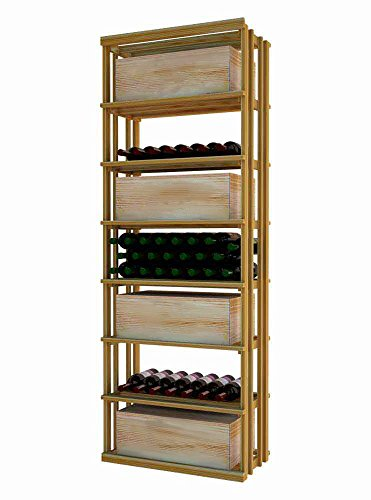Wine Cellar Innovations DR-UN-RECT-A3 Designer Series Rectangular Bin and Case Storage Wine Rack, Premium Redwood, Without Lacquer Finish, Unstained