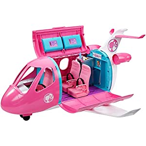 41vd4ZynYbL. SS300  - Barbie Dreamplane Transforming Playset with Reclining Seats and Working Overhead Compartments, Plus 15+ Pieces Including…