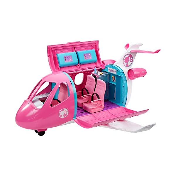 41vd4ZynYbL. SS600  - Barbie Dreamplane Transforming Playset with Reclining Seats and Working Overhead Compartments, Plus 15+ Pieces Including…