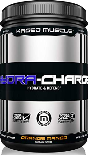 - KAGED MUSCLE, HYDRA-CHARGE Premium Electrolyte Powder, Hydrate, Pre Workout, Post Workout, Intra Workout, Orange Mango, 60 Servings