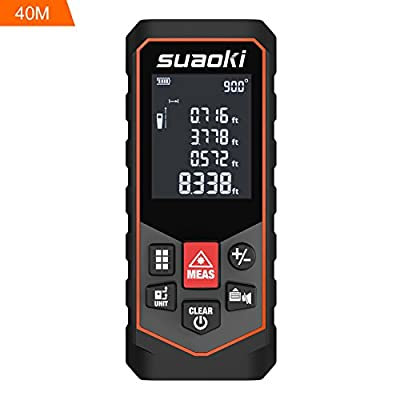 SUAOKI S7 Laser Measure Laser Distance Meter with Mute Function for Distance Area Volume Pythagorean Calculation, Batteries Included